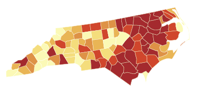 2008 obesity map by county for North Carolina only